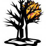 drawing of the sun caught in a tree