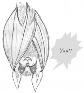 A drawing of a happy bat saying yay