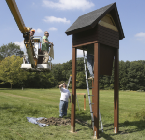 A photo of the Hammel Woods Park bat condo from the Herald News (By J. Patsch)