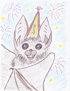 A drawing of a bat celebrating new year!