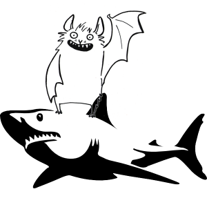 A cartoon of a bat riding a shaark