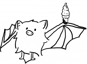 A drawing of a bat with an ice cream cone
