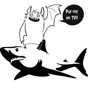 A cartoon of a bat riding a shark for Shark Week.