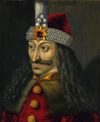 a painted portrait of Vlad Draculea