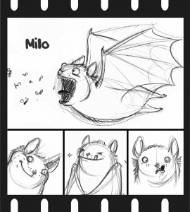 A promo poster for Milo the bat in Om Nom Nom