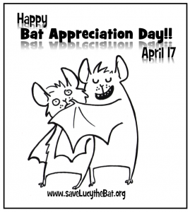 A cartoon of bats hugging for National Bat Appreciation Day