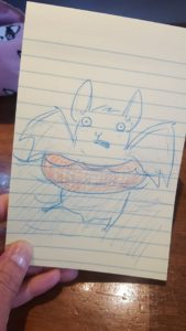A doodle by Kim O'Keefe of a bat floating in a life preserver to reflect on the bat rescuers in Houston.