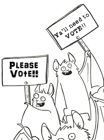 A cartoon of two bats holding signs asking people to vote. The signs use different dialects (phrases).