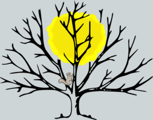 A drawing of the sun caught in the branches of a leafless tree. A little squirrel is climbing toward the sun to free it.