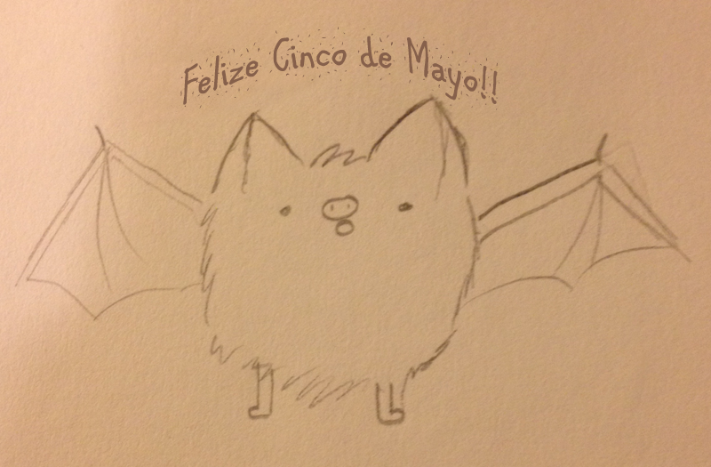 A pencil drawing of a bat by E. Wright, captioned 'Felize Cinco de Mayo